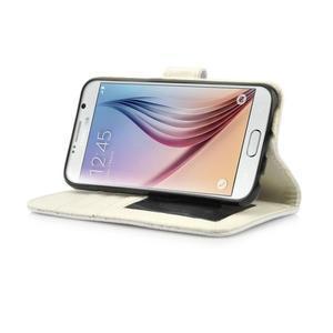 Croco motiv koženkového pouzdra na Samsung Galaxy S6 - bílé - 6