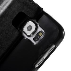 Luxury textilní/koženkové pouzdro na Samsung Galaxy S6 - černé - 6