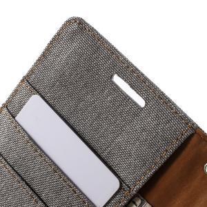 Luxury textilní/koženkové pouzdro na Samsung Galaxy S6 - šedé - 6