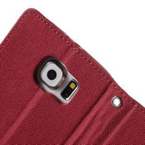 Luxury textilní/koženkové pouzdro na Samsung Galaxy S6 - červené - 6