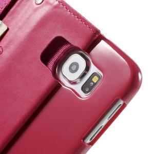 Luxury textilní/koženkové pouzdro na Samsung Galaxy S6 - rose - 6
