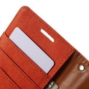 Luxury textilní/koženkové pouzdro na Samsung Galaxy S6 - oranžové - 6