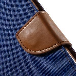 Luxury textilní/koženkové pouzdro na Samsung Galaxy S6 - modré - 6