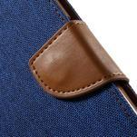 Luxury textilní/koženkové pouzdro na Samsung Galaxy S6 - modré - 6/7