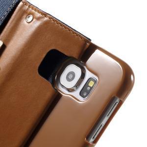 Luxury textilní/koženkové pouzdro na Samsung Galaxy S6 - jeans - 6