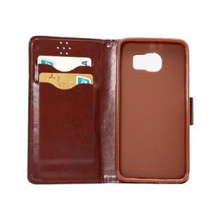 Business látkové/PU kožené pouzdro na Samsung Galaxy S6 - světle hnědé - 6