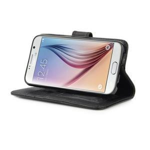 Croco motiv koženkového pouzdra na Samsung Galaxy S6 - černé - 6