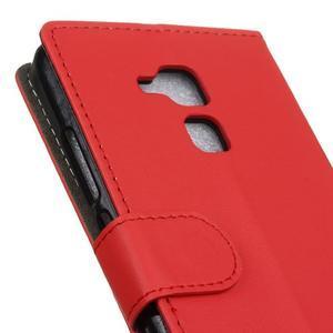 Peněženkové PU kožené pouzdro na mobil Honor 7 Lite - červené - 6