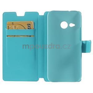 Tyrkysové peněženkové pouzdro na HTC One mini 2 - 6