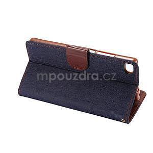 Stylové peněženkové pouzdro Jeans na Huawei Ascend P8 - černomodré - 6