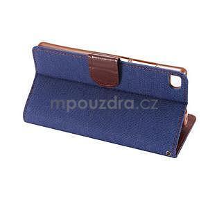 Stylové peněženkové pouzdro Jeans na Huawei Ascend P8 - tmavě modré - 6