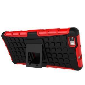 Outdoor odolný kryt 2v1 se stojánkem pro Huawei Ascend P8 Lite - červený - 6
