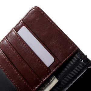 Luxusní peněženkové pouzdro na Huawei P8 Lite -  hnědé / černé - 6
