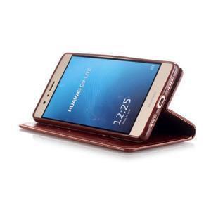Magicfly knížkové pouzdro na telefon Huawei P9 Lite - hnědé - 6