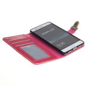 Luxury PU kožené peněženkové pouzdro na Huawei P9 Lite - rose - 6