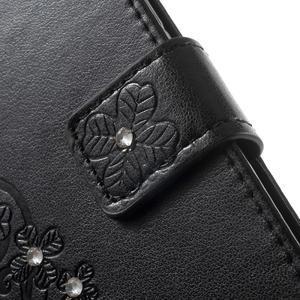 Cloverleaf peněženkové pouzdro s kamínky na Huawei P9 Lite - černé - 6