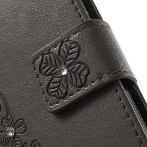 Cloverleaf peněženkové pouzdro s kamínky na Huawei P9 Lite - šedé - 6
