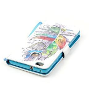 Knížkové PU kožené pouzdro na Huawei P9 Lite - barevná peříčka - 6