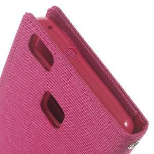 Canvas PU kožené/textilní pouzdro na Huawei P9 Lite - rose - 6