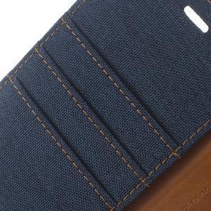 Canvas PU kožené/textilní pouzdro na Huawei P9 Lite - tmavěmodré - 6