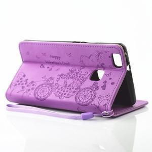 Loves PU kožené pouzdro s kamínky na Huawei P9 Lite - fialové - 6