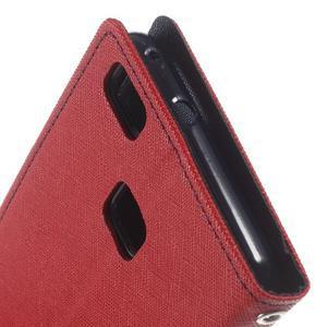Diary PU kožené pouzdro na telefon Huawei P9 Lite - červené - 6