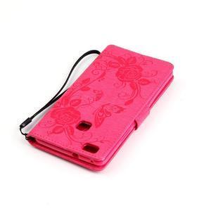 Květinoví motýlci peněženkové pouzdro na Huawei P9 Lite - rose - 6
