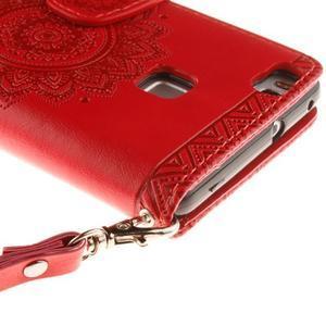 Mandala PU kožené pouzdro na Huawei P9 Lite - červené - 6