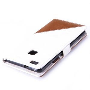 Duocolory PU kožené pouzdro na Huawei P9 Lite - bílé/hnědé - 6