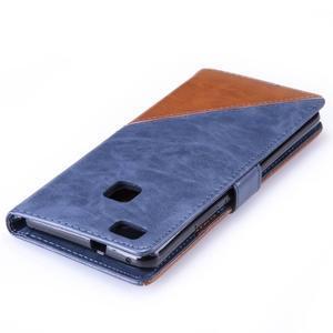 Duocolory PU kožené pouzdro na Huawei P9 Lite - modré/hnědé - 6