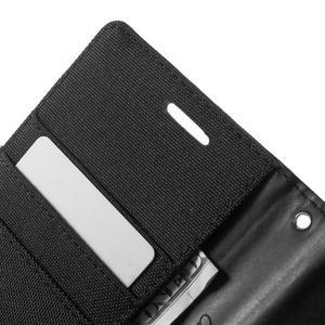 Canvas textilní/PU kožené pouzdro na Asus Zenfone 2 Laser - černé - 6
