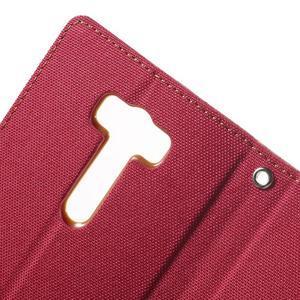 Canvas textilní/PU kožené pouzdro na Asus Zenfone 2 Laser - červené - 6