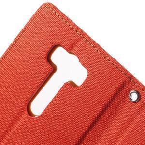 Canvas textilní/PU kožené pouzdro na Asus Zenfone 2 Laser - oranžové - 6