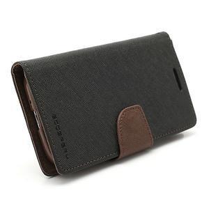 Fancy peněženkové pouzdro na Samsung Galaxy S4 - černé/hnědé - 6