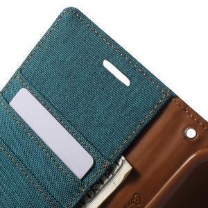 Canvas textilní/PU kožené pouzdro na Asus Zenfone 2 Laser - zelenomodré - 6