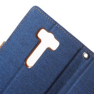 Canvas textilní/PU kožené pouzdro na Asus Zenfone 2 Laser - modré - 6
