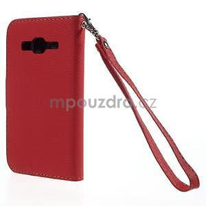 Červené/hnědé peněženkové pouzdro na Samsung Galaxy Core Prime - 6