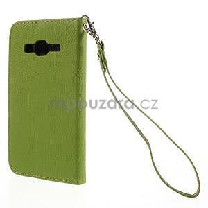 Zelené/hnědé peněženkové pouzdro na Samsung Galaxy Core Prime - 6