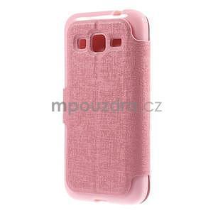 Zapínací peněženkové pouzdro na Samsung Galaxy Core Prime - růžové - 6