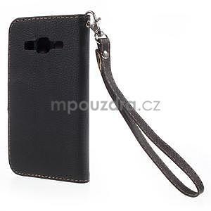 Černé/hnědé peněženkové pouzdro na Samsung Galaxy Core Prime - 6