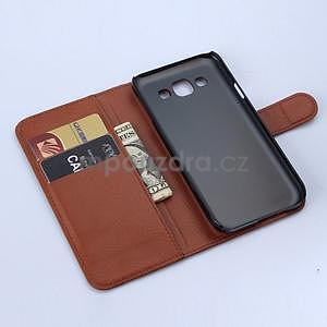 PU kožené peněženkové pouzdro na Samsung Galaxy E5 - hnědé - 6