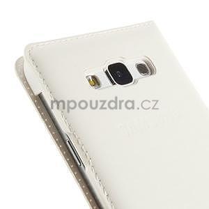 PU kožené pěněženkové pouzdro s okýnkem Samsung Galaxy E5 - bílé - 6