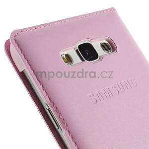 PU kožené pěněženkové pouzdro s okýnkem Samsung Galaxy E5 - růžové - 6