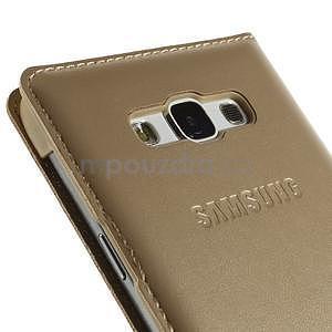 PU kožené pěněženkové pouzdro s okýnkem Samsung Galaxy E5 - zlaté - 6