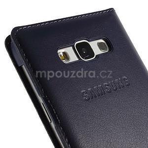 PU kožené pěněženkové pouzdro s okýnkem Samsung Galaxy E5 - tmavě modré - 6