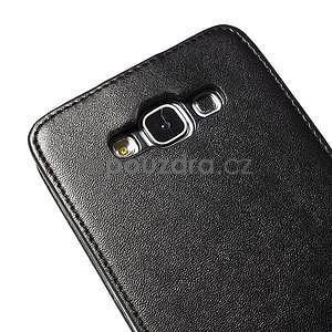 Černé flipové PU kožené pouzdro na Samsung Galaxy E7 - 6