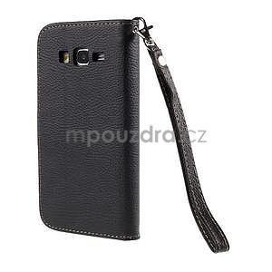 Černé/hnědé zapínací peněženkové pouzdro na Samsung Galaxy Grand Prime - 6