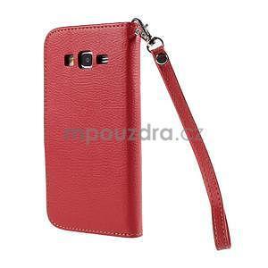 Červené/hnědé zapínací peněženkové pouzdro na Samsung Galaxy Grand Prime - 6