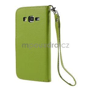 Zelené/hnědé zapínací peněženkové pouzdro na Samsung Galaxy Grand Prime - 6