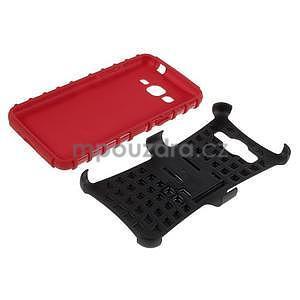 Vysoce odolný kryt se stojánkem na Samsung Galaxy Grand Prime - červený - 6